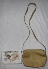 Carlos Falchi Lot of 2 Vintage White and Gold Crossbody Purses