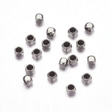 100pcs 304 Stainless Steel Square Crimp End Beads Smooth Findings 1.4mm Inner