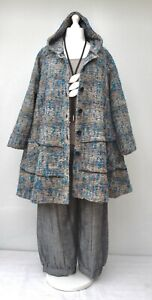 """PLUS SIZE WOOL MIX BOUCLE HOODED A-LINE JACKET/COAT*BLUE/MULTI*BUST UP TO 54""""XXL"""