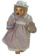 "Rained Lucille Bear Doll Applause 1991 Wood Face 13"""