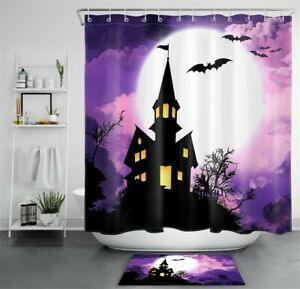 Halloween Night Haunted House Purple Clouds Waterproof Fabric Shower Curtain Set