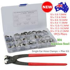 70PCS 304 Stainless Steel Single Ear Clamps Hose Crimp Fuel Pipe Clip + Plier