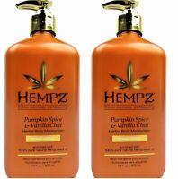 Lot of 2 Hempz Pumpkin Spice & Vanilla Chai Herbal Body Moisturizer Lotion 17 oz