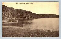 Bristol CT, Dock at Lake Compounce Amusement Park, Vintage c1910 Postcard
