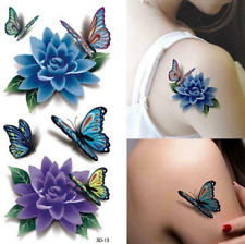 Temporary Tattoo Large 19cm x 9 Butterfly Rose Stickers Body Art Waterproof