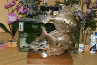 "Huge 14"" brass twin Fish Statue on Wood base stand Angel Goldfish sculpture"