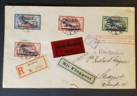 1922 Memel Stuttgart Germany Inflation Rate Overprint Registered Air Mail Cover