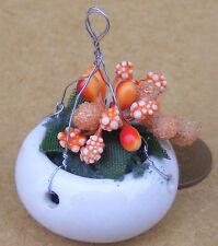 1:12 Ceramic Hanging Basket Orange Flowers Doll House Miniature Garden Accessory