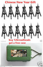 "12PCs Archery Official Broadheads 2 Blade 100Gr 2.3"" Cut  Hunting Tip Arrowheads"