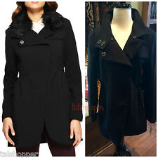 NEW Bebe Faux Fur Snap Front Classic Pleated Dress Jacket Coat L Large 10-12 NWT
