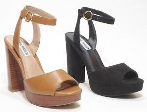 Steve Madden Epic Gorgeous High Heel Ankle Strap Sandals Tan / Cognac / Black