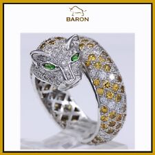 LEOPARD DIAMOND RING YELLOW SAPPHIRE RING 18K GOLD LEOPARD RING SIZE 7 (yx2)