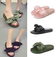 Womens Girls Flip Flop Bow Satin Slide Slip On Flat Sandal Shoes Open Toe A430