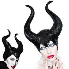 Women Maleficent Costume Witch Black Horns Cosplay Mask Halloween Hat Headwear