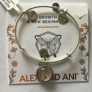 Alex and Ani Aster Flower Bangle Bracelet Shiny Silver One Size
