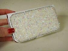 White Clear Made with Swarovski Crystal Diamond Gem Luxury Wallet Case Galaxy S4