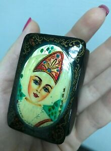 Russian Fedoskino Hand Painted Miniature on Mother of pearl, Jewelry Box