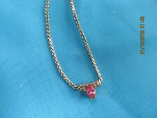 with Pink and Clear stones Vintage Sarah Coventry Gold Filled Necklace