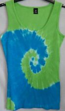 Size XL 16/18 Blue and Green Tie-Dye Ribbed Sleeveless Tank Top X-Large NWOT XLG