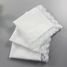 6 Pure White Women Lady Cotton Lace Hankies Sweet Handkerchiefs Wedding Party