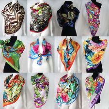 """lot of 5 vintage floral animal skin 39"""" satin wholesale square scarves"""