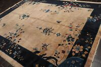 """9' x 11'7"""" Antique Hand Knotted Chinese Art Deco Wool Oriental Area Rug Taupe"""