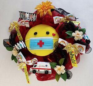 "Thank You  Doctors Nurses Essential Healthcare Workers 24"" Deco Mesh Wreath New"