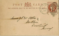 KINGSTON-ON-THAMES : 1880 422  numeral cancel on postal stationery card+SURBITON