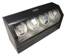 Heiden Quad 4 Four Automatic Watch Winder Black Leather Storage Box Case NEW