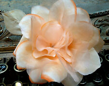 """Vintage Authentic No:2318 Silk Organza 5"""" Peach Rose Made in Czech Hats Pin"""
