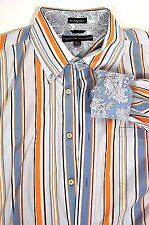 Tommy Hilfiger Striped Oxford Shirt Paisley Flip Cuff Orange Blue XL 80s 2 Ply