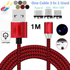 360 Round 2.4A Fast Magnetic LED Micro USB Charging Charger Cable For Android