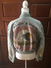Vintage Blue Systems Jean Jacket Women's Denim Painted Ride Free Motorcycle M
