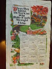 Vtg Calendar Tea Dish Towel 1968 Bless this house