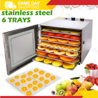 6 Drying Tray Electric Food Dehydrator Machine Temperature Stainless Steel, BPA