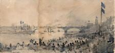 THE BOAT RACE OXFORD & CAMBRIDGE Watercolour Painting 1877 RIVER THAMES