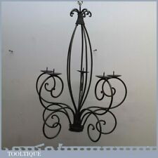 """Vintage Gothic Medieval Style Wrought Iron Work Candelabra - 23"""" Tall"""