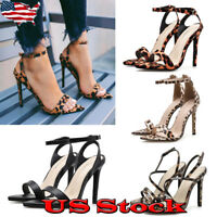 Womens Stiletto High Heels Peep Toe Ankle Strappy Sandals Summer Slingback Shoes