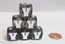 "DICE - LETTER ""V"" on *SIX* 16mm TL SMOKE with WHITE ""V"" AS #1 and WHITE PIPS"