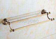 Antique Brass Wall Mounted Bathroom Double Towel Bar Rack Holder Kba483