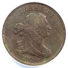 1804 C-1 ANACS VF 20 Details Draped Bust Half Cent Coin 1/2c