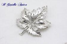 TRIFARI Spilla Broche Placcata Oro Bianco anni 50/60 Foglia Leaf