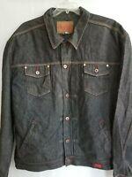 Guess USA Vintage Mens Trucker Jacket Black Denim Red Stitch Button Pockets 4XL