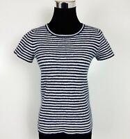 J Crew Womens Size XS Short Sleeve Blue White Striped Wool Blend Top Sweater