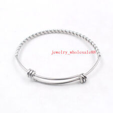 Lot 5pcs Stainless Steel Fashion Cuff bangle pattern Wire Bracelet Unisex Womens