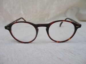 Anglo American 406 EUC brown tortoise round eyeglasses frames 47 21 145