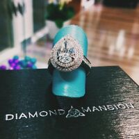 4.08 Ct. Hand Carved Natural Diamond Double Halo Pave Pear Cut Engagement Ring