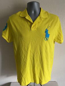 NEW Polo Ralph Lauren Polo Big Pony 3 Men's Yellow Polo Shirt Custom Fit Size M