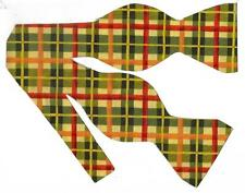 (1) BOW TIE - AUTUMN PLAID - RED, GREEN, GOLD & IVORY