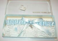 WOMENS NEW PALE BLUE WHITE SILVER ANGEL CHARM POEM WEDDING BRIDAL GARTER BELT